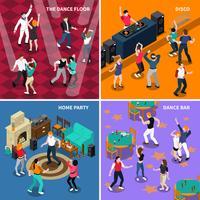 Pessoas dançando 4 isométrica ícones quadrados