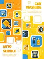 Banners planos verticais de serviço de lavagem de carro vetor
