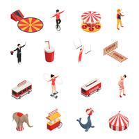 Conjunto de ícones isométrica de circo vetor