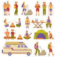 Conjunto de ícones de viagens de verão ao ar livre