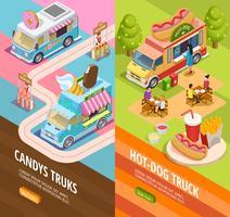 Food Trucks 2 banners isométricos verticais vetor