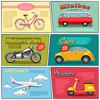 conjunto de mini pôster de transporte em quadrinhos