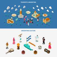 Argentina 2 isométrica turísticas atrações Banners vetor