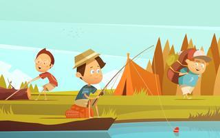 Ilustração de crianças de acampamento