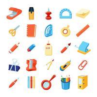 Conjunto de ícones coloridos de papelaria