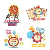 Composições retros dos desenhos animados da gestão de tempo vetor