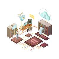 Ilustração isométrica de sala de servidor