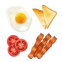 Comida de café da manhã 4 ícones de vista superior vetor