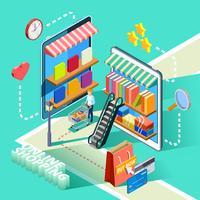 Cartaz de Design isométrico de compras on-line de comércio eletrônico vetor