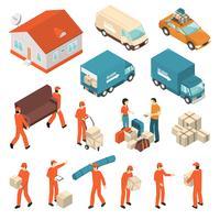 Conjunto de ícones isométrica de serviço de empresa em movimento