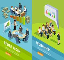 Banners verticais isométricas de aprendizagem de negócios vetor