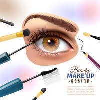 Poster de fundo borrado de maquiagem de olho vetor