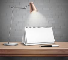 Calendário de mesa em branco no conceito de tabela vetor
