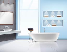 Design realista Interior de casa de banho vetor
