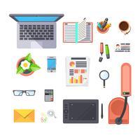 Conjunto de objetos de trabalho de escritório vetor