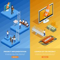 Banners verticais isométricas de estratégia de negócios vetor