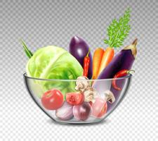 Vegetais realistas na tigela de vidro vetor