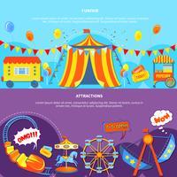 Parque de diversões e atrações 2 banners planas