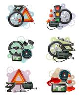 Conjunto de sinal de manutenção de carro vetor