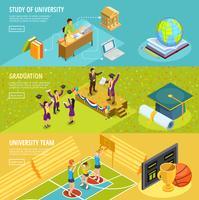 Banners horizontais isométricos de educação universitária 3 vetor