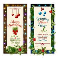 Banners de férias de Natal vetor