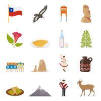 Chile ícones coloridos planos