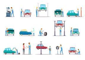 Coleção de ícones dos desenhos animados de serviço de reparação de carro
