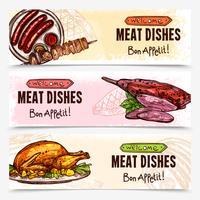 Banners horizontais de carne desenhada de mão vetor