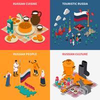 Conjunto de ícones de isométrica turística russa 2 x 2 vetor