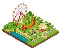 Composição isométrica de parque de diversões vetor