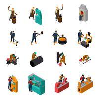 Coleção de ícones isométrica de maquinaria de ferramentas para metais vetor