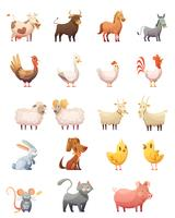 Conjunto de desenhos animados de animais de fazenda