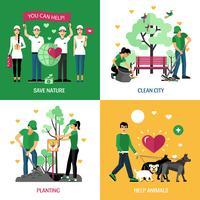 Voluntários 2x2 Design Concept vetor
