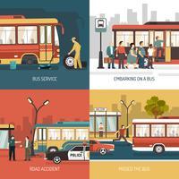 Parada de ônibus 4 Flat Icons Square