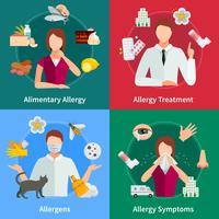 Conjunto de ícones de conceito de alergia vetor
