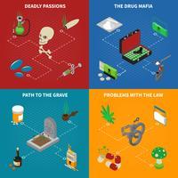 Conjunto de ícones de conceito de dependência de drogas vetor