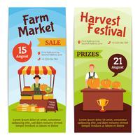 Banners verticais da fazenda de colheita