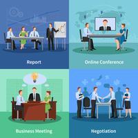 Conjunto de ícones de conceito de conferência vetor