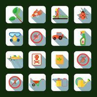 Conjunto de ícones quadrados de pesticidas