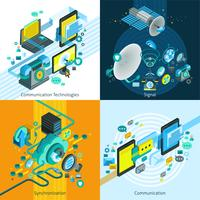 Conceito de design 2x2 isométrica de telecomunicações