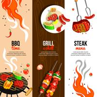 Festa de churrasco 3 conjunto de Banners verticais