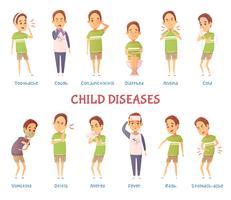 Conjunto de caracteres de doenças de criança