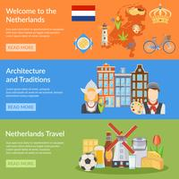 Bandeiras planas de viagens de Holanda vetor