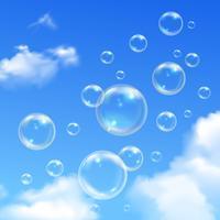 Bolhas de sabão azul céu realista fundo