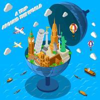 Marcos do mundo no cartaz isométrico do globo vetor