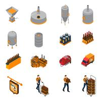 Conjunto de ícones isométrica de cervejaria vetor