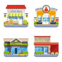 Coleção de ícones coloridos plana de loja