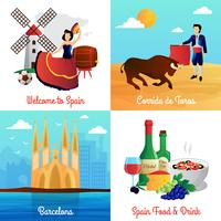 Spain Travel Concept 4 Flat Icons Square vetor