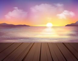 Pôr do sol e fundo do mar vetor