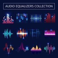 Conjunto de Neon Equalizador de Áudio vetor
